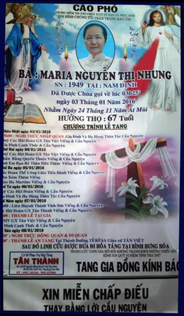 Bà Maria, Mẹ chị Phượng Nguyễn vừa mới qua đời