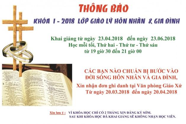 KHÓA I-2018 LỚP GIÁO LÝ HÔN NHÂN & GIA ĐÌNH