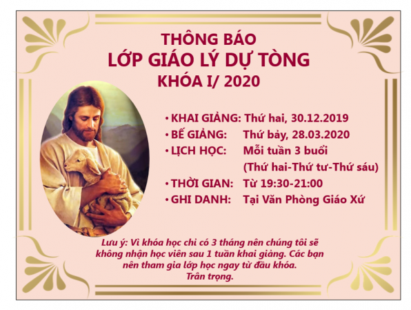 THÔNG BÁO KHAI GIẢNG LỚP GIÁO LÝ DỰ TÒNG KHÓA 1/2020