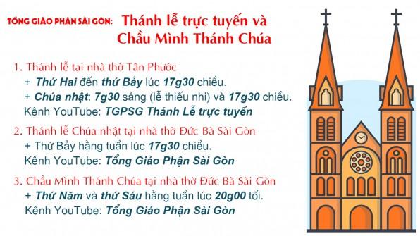 Tổng Giáo phận Sài Gòn: chương trình trực tuyến từ ngày 27-7-2020 đến ngày 02-8-2020
