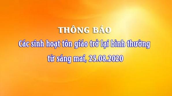 Giáo phận Xuân Lộc: thông báo vv. các sinh hoạt tôn giáo trở lại bình thường từ 25.08.2020