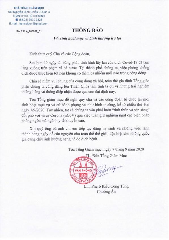 Tổng Giáo Phận Sài Gòn đã có thông báo dâng lễ trở lại