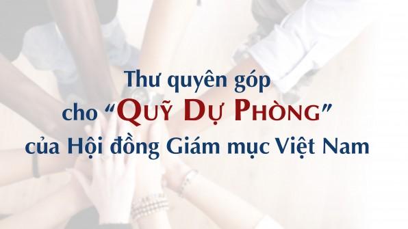 Thư quyên góp cho quỹ Dự phòng của Hội đồng Giám mục Việt Nam ngày 11-9-2020