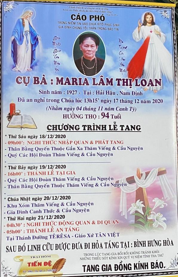 THÁNH LỄ AN TÁNG CHO CỤ BÀ MARIA LÂM THỊ LOAN