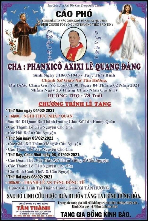 Cầu nguyện cho cha cố Phanxicô Assisi Lê Quang Đăng