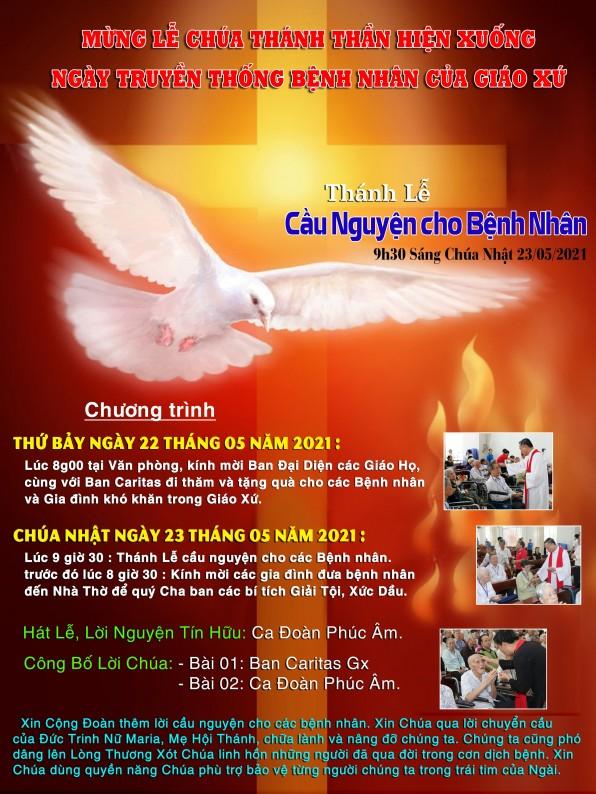 MỪNG LỄ CHÚA THÁNH THẦN HIỆN XUỐNG NGÀY TRUYỆN THỐNG BỆNH NHÂN CỦA GIÁO XỨ