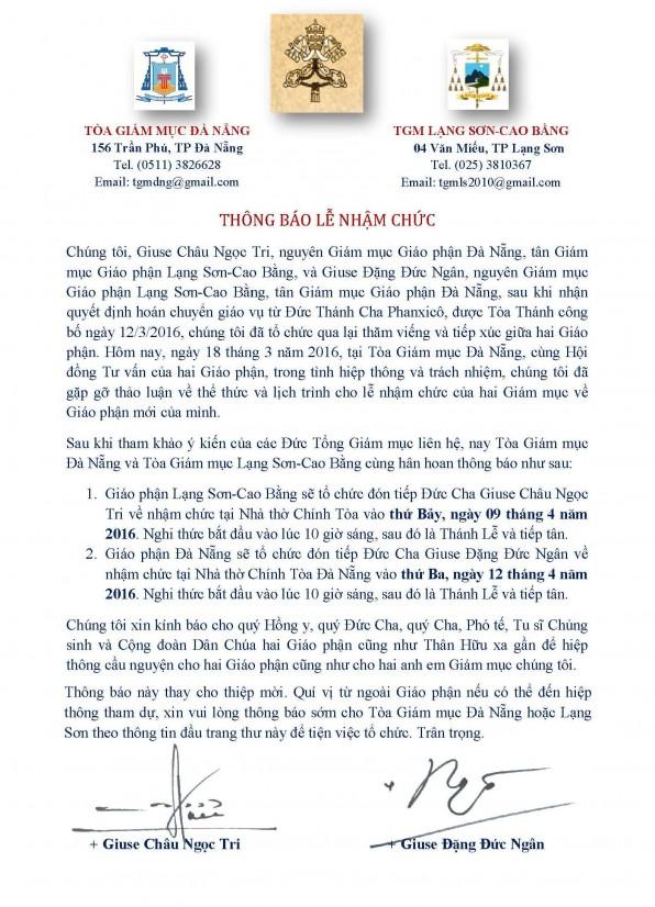Thông báo Lễ nhậm chức của hai Đức giám mục giáo phận Lạng Sơn-Cao Bằng và giáo phận Đà Nẵng