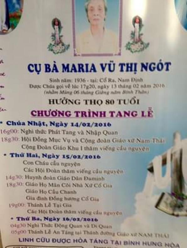 Cầu nguyện cầu nguyện cho bà Maria Vũ Thị Ngót