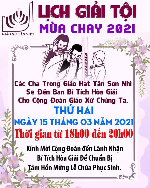 LỊCH GIẢI TỘI MÙA CHAY NĂM 2021