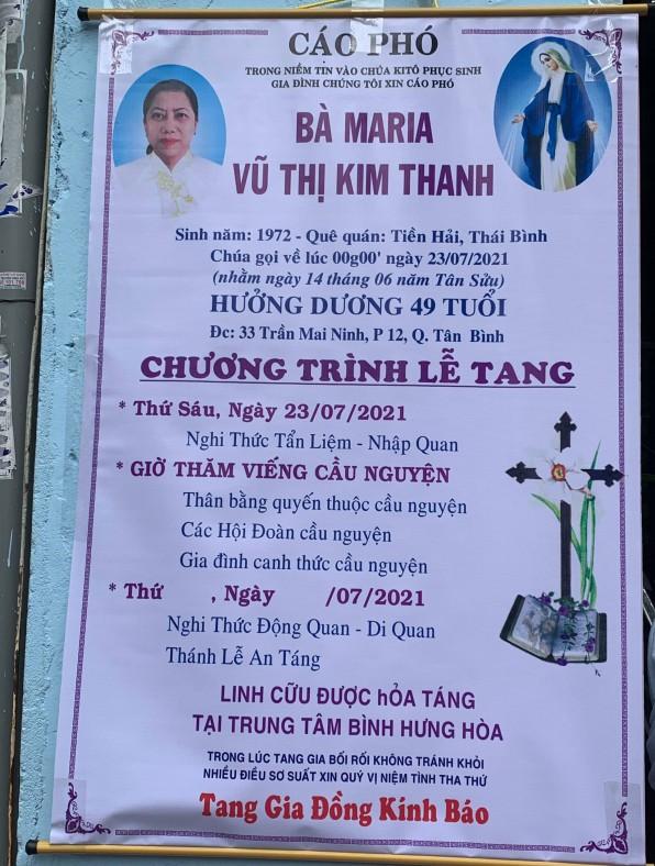 CẦU NGUYỆN CHO BÀ MARIA VŨ THỊ KIM THANH