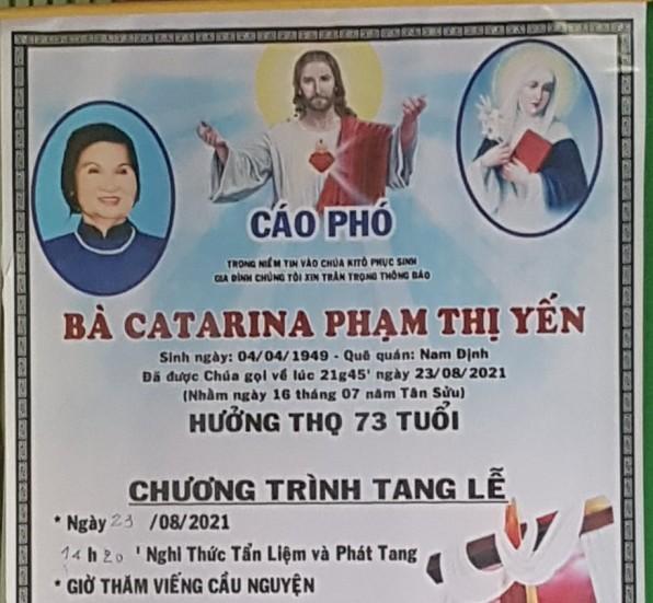 CẦU NGUYỆN CHO BÀ CATARINA PHẠM THỊ YẾN (Bà Đông)